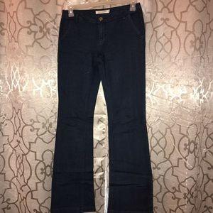 Dark wash wide leg trousers